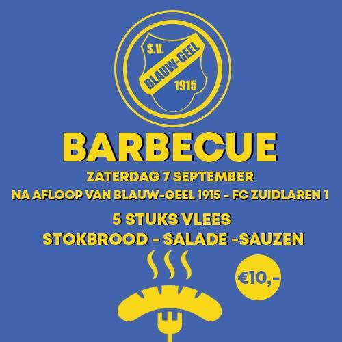 Blauw-Geel BBQ zaterdag 7 september 2019
