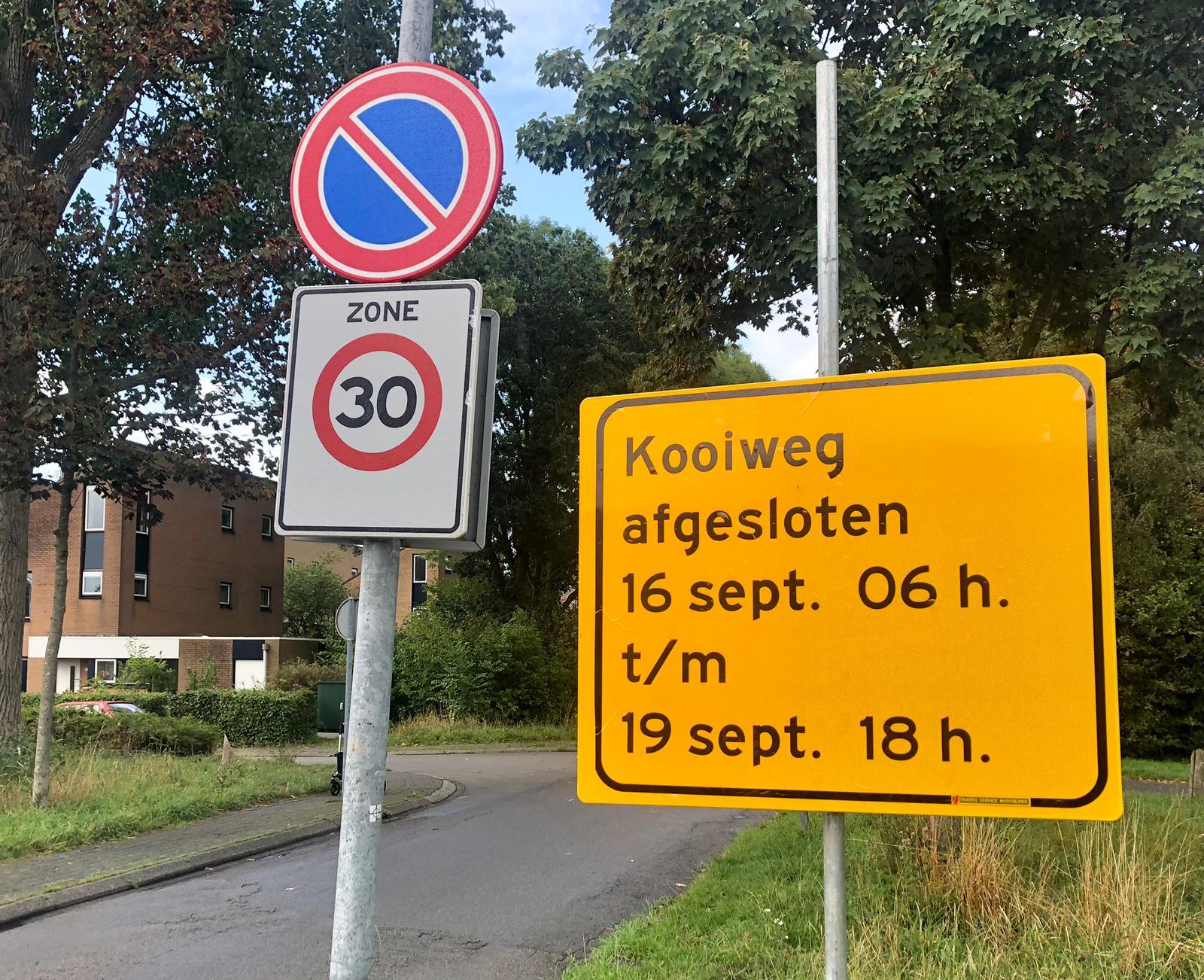 Kooiweg wordt afgesloten voor motorisch verkeer