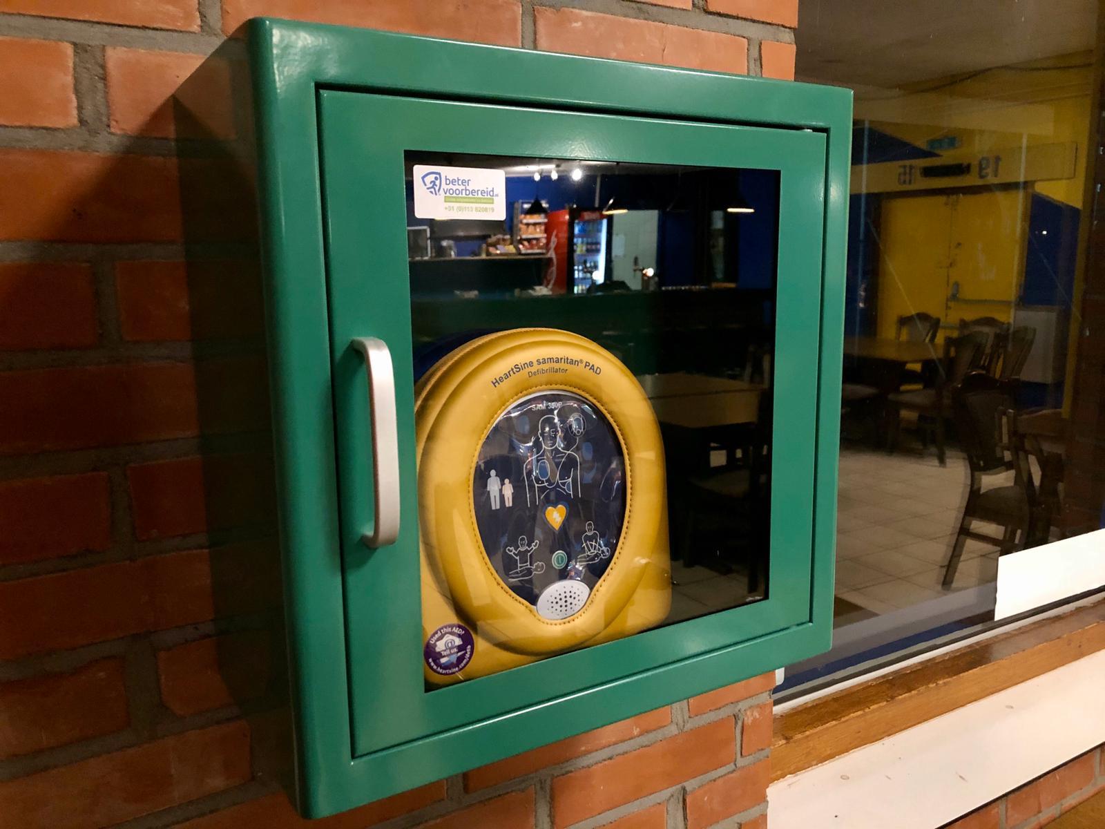AED in de kantine van s.v. Blauw-Geell
