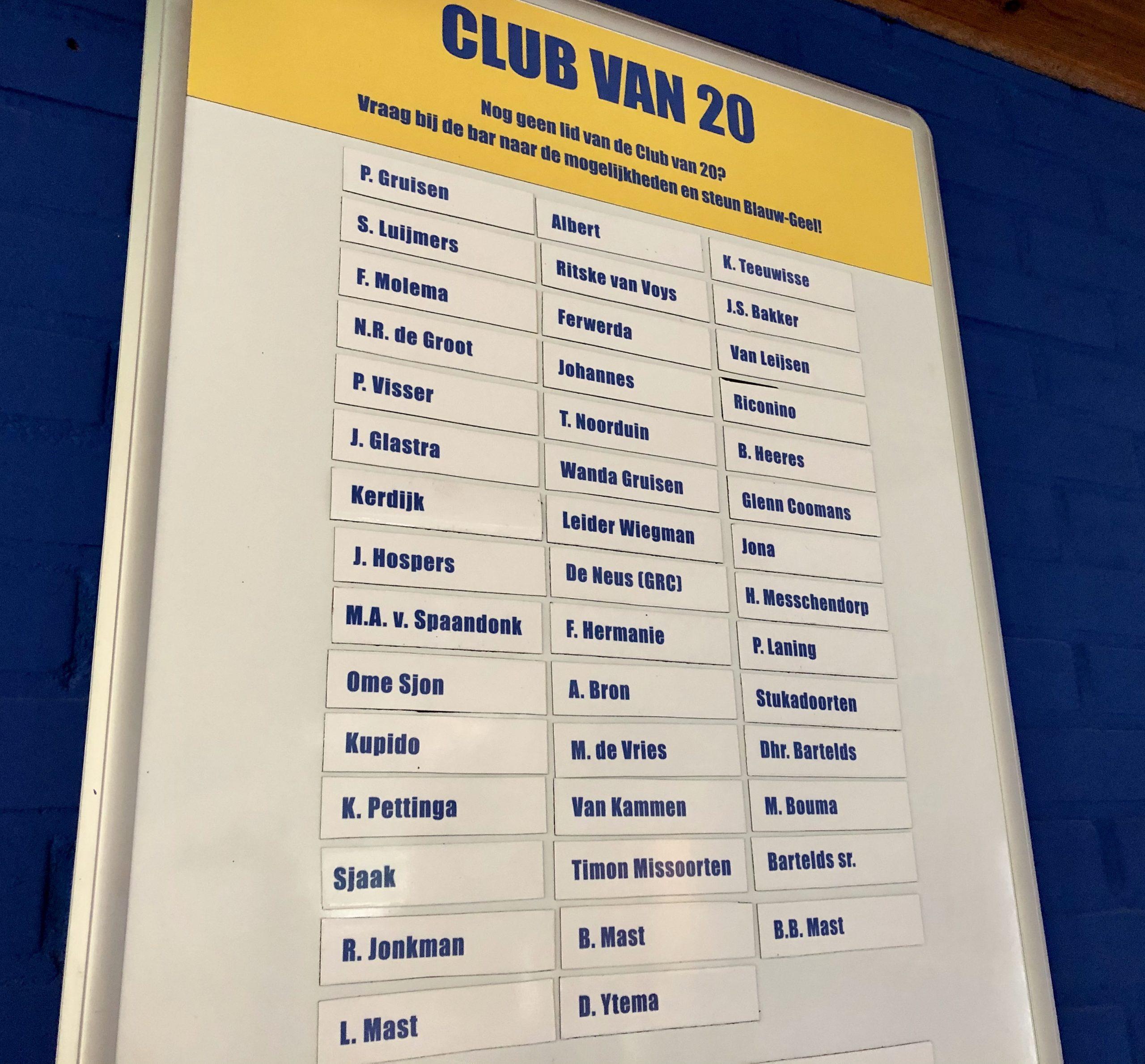 Projecten 'Club van 20' afgelopen seizoen